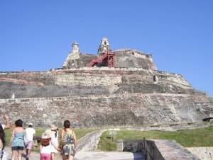 cartagena san felipe fort with tourist families