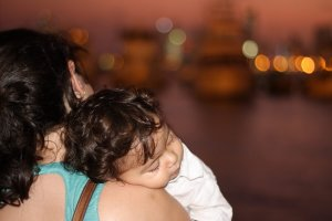 Mother and sleeping baby in Cartagena